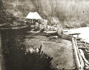 Grand Lake Matagamon dam in later 1800's